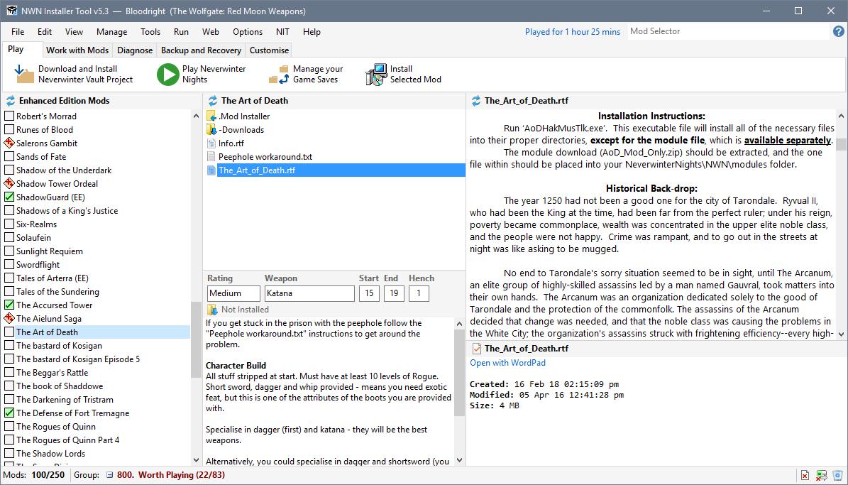 Neverwinter Nights Mod Installer Tool - NIT   The