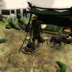 A ranger and his warg companion cooking diner.
