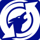 this is an image of a howling wolf emblazoned on a circular 'recycling' icon.